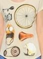 Kaft Bisiklet Yaka Baskılı Tişört Bej